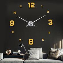 120cm Creative Home Decor Arcylic Mirror Personality Golden DIY 3D Wall Stickers Clock Digital Watch Mural Art Decoration(China (Mainland))