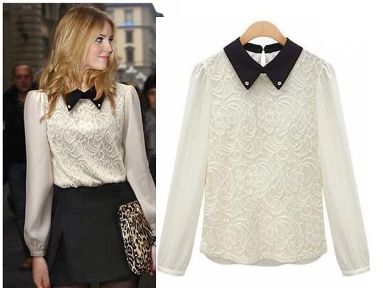 Blouses For Women 2013 Lace Blouse Formal Long Chiffon Sleeves Shirt Women Beaded Collar Tops Pullover Black and White AW13B004