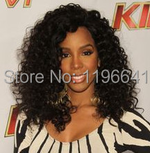 Kelly rowland hair wigs black kinky curly lace front wig for black woman