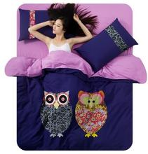 Home bedclothes owl pattern bedding set duvet cover sheet pillowcase 3/4pcs twin full king EMS/UPS/FedEx/TNT(China (Mainland))