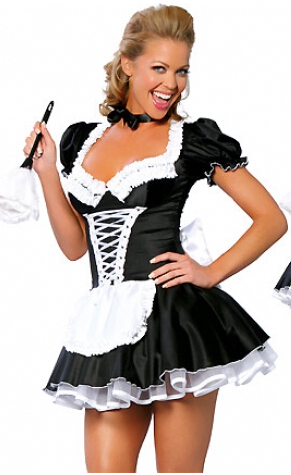 ZT8181 French Maid Costume Uniform Sexy Adult Dress cosplay without fur brush plus size 4XL - rockabilly dress costume clothes mfg store