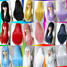 80cm Long Straight heat resisitant ladies white pink fringe Wig,kanekalon synthetic black hair peruca wig,long Cosplay Wig anime(China (Mainland))