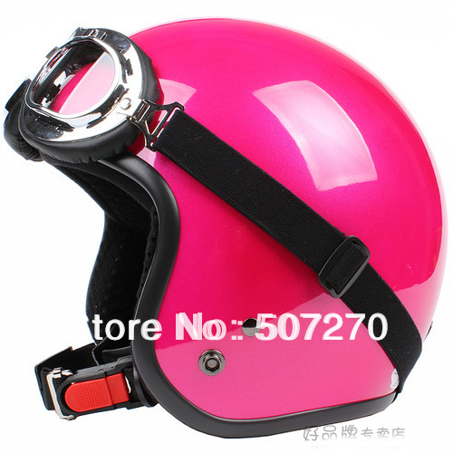 E.23 3/4 Taiwan  SYC  Retro ABS Scooter Half Face Motorcycle Full Gloss Peach Red Helmet &amp; UV Goggles &amp; Visor For Summer<br><br>Aliexpress