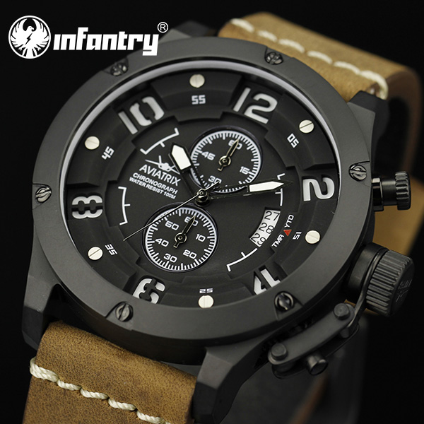 AVIATOR INFANTRY Army Style Chronograph Men's Date Quartz Analog Wrist Watch Military Luxury Leather Straps 2015(Hong Kong)