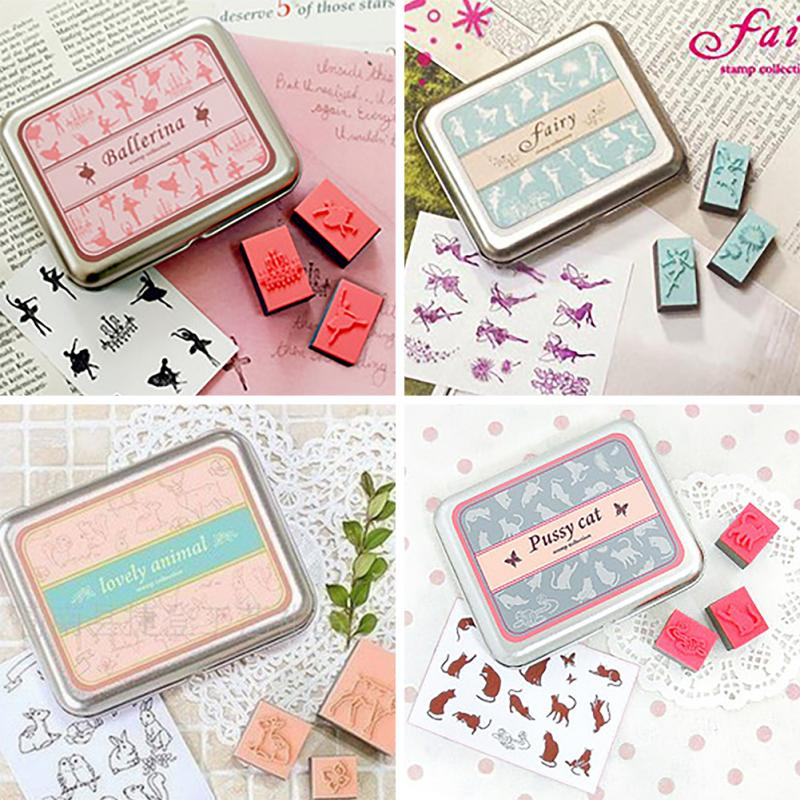 DIY Decor Stamp Rubber Stamp Set Fairy Animal Bird Cat Case Children Gift Toy 4 Styles Free Shipping(China (Mainland))