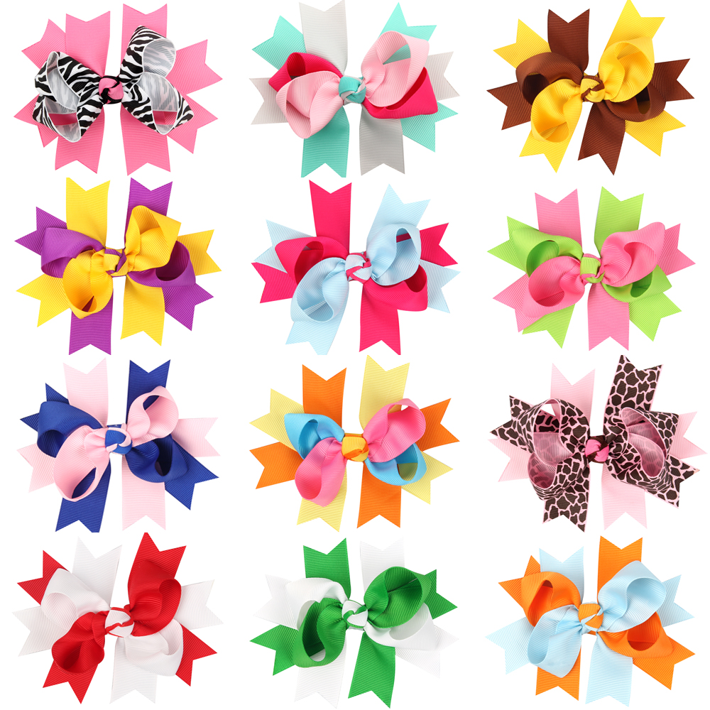 childrens bow Barrettes & Clips Stacked Girls Bows Girls Larges Bows Boutique hair Bow for girls(China (Mainland))