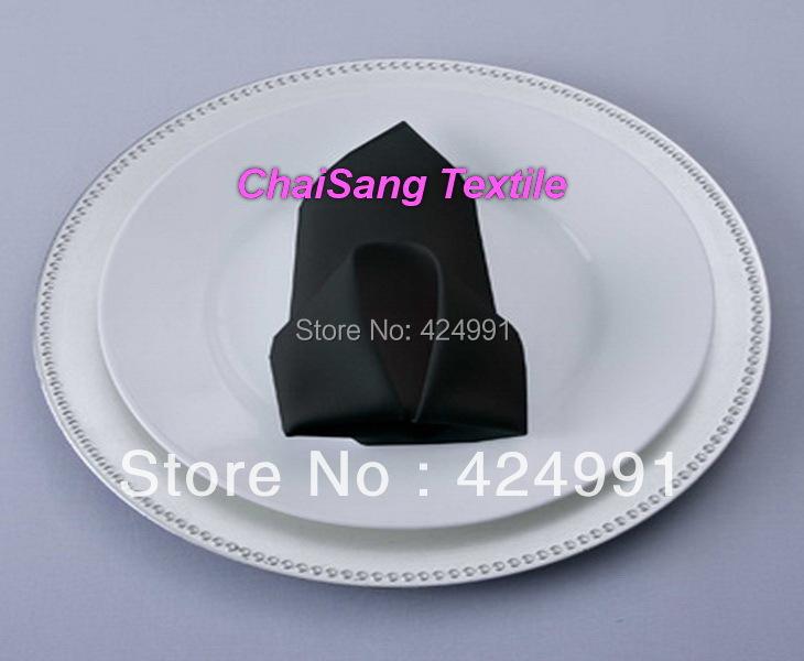 150pcs Black Polyester Napkin 50x50cm For Wedding Event &Party Decoration(China (Mainland))