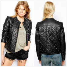 New Hot! 2014 Winter Fashion Rivet Mosaic Leather Jacket Women Coat Slim High Waist Brand Design Motorcycle Jacket Vogue Outwear