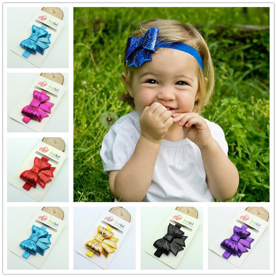 European and American children hair bow sequins embroidered Sequin Bow Headband HD043(China (Mainland))