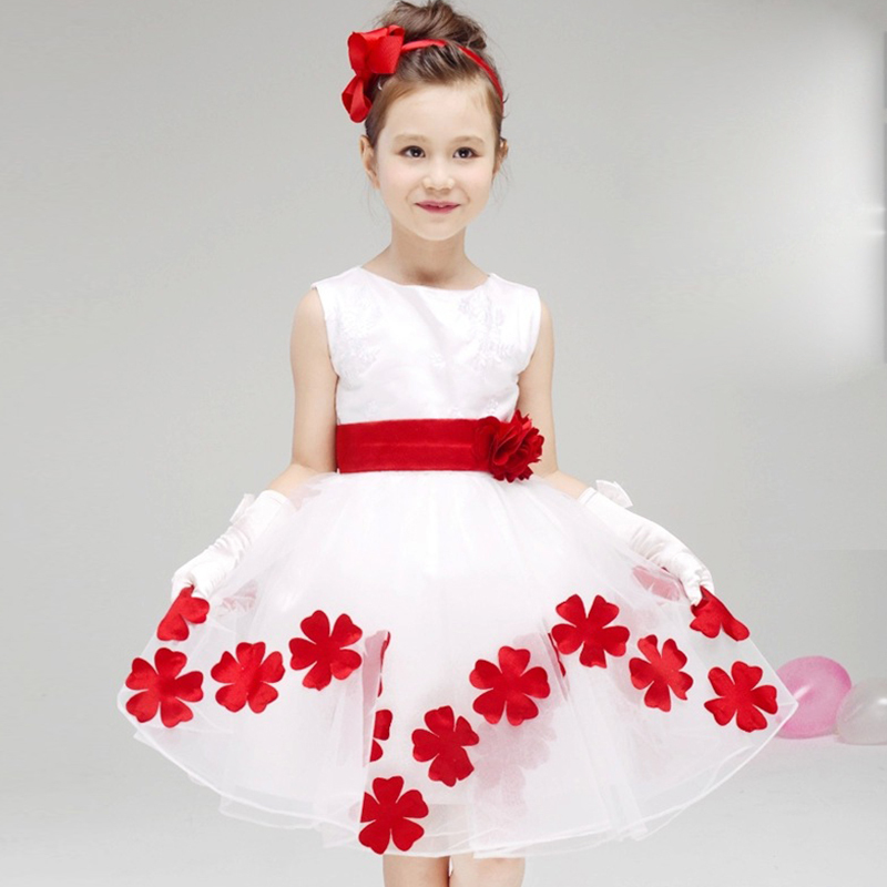 HIHEART 2015 Elegant Baby Girl Floral Sleeveless White Christening Dresses Cute Bow Party Infant Princess Kid Pageant Dress(China (Mainland))