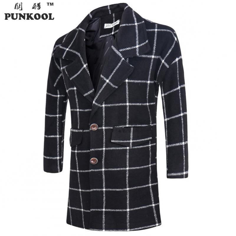 PUNKOOL Autumn Korea Style Slim Fitness Trench Coat Men Fashion Plaid Men Outerwear Casual Coat Men Jackets Windbreaker(China (Mainland))