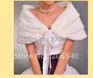 free shipping 5/lot Ivory Faux Fur Stole Wrap Shrug Bolero Coat Bride shawl #04
