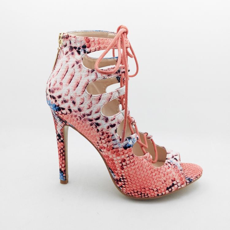 Здесь можно купить  Fashion Summer New Women Snake Pattern Peep Toe High Heels Cross Lacing Sandals Sexy Thin Heel Hollow Out Women Ankle Cool Boots  Обувь