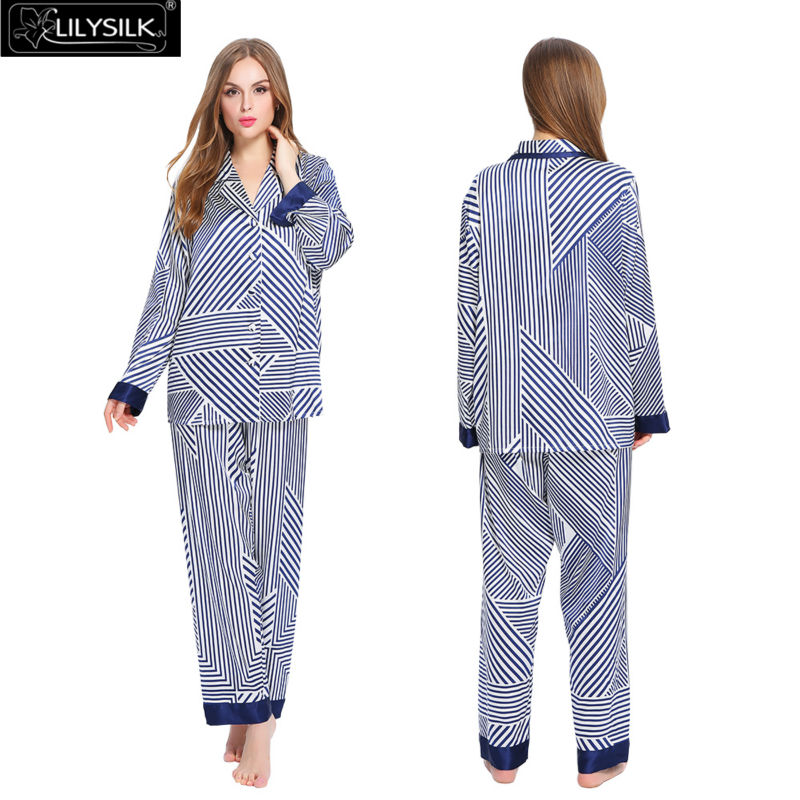 Lilysilk 100% Silk Women Summer Bride Lady Pajamas Sets Long Striped 19 Momme Long Sleeve Pijama Elastic Waist Satin Brand New(China (Mainland))