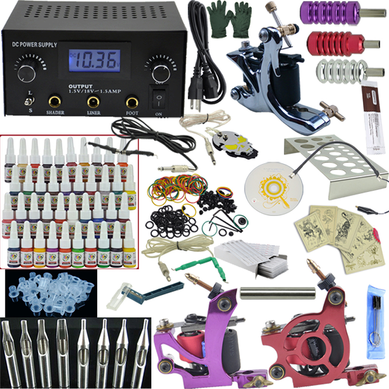 Фотография OPHIR Professional Tattoo Kits 3 Rotary Tattoo Machine LCD Power Supply 40 Tattoo Inks & 50 pcs Needles Grips Set Body Art#TA005
