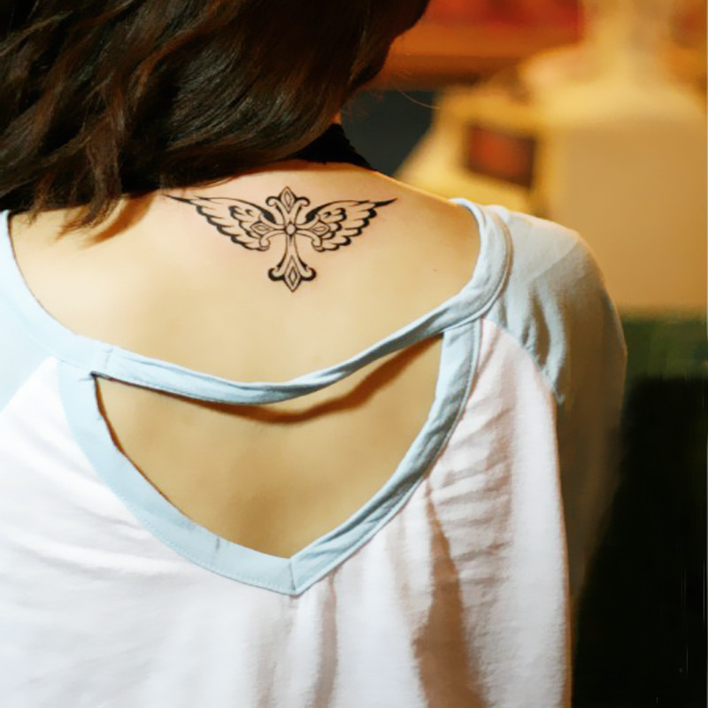 Temporary tattoos neck back body makeup cross wings fake for Adult temporary tattoo