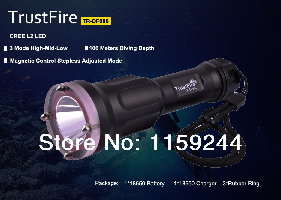 2014 Newest TrustFire TR-DF006 100 meters depth LED Diving Flashlight Kit CREE XML L2 650lm 3 mode LED Diving Flashlight Torch(China (Mainland))