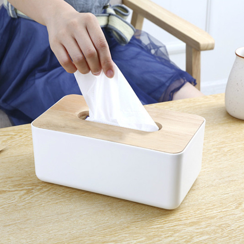 Plastic Tissue Box Paper Home Car Napkins Holder Dispenser With Oak Wooden Cover Home Organizer Decoration(China (Mainland))