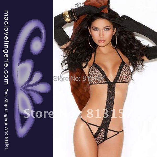 Free Shipping! ML6006 New Arrival Halter Hot Sexy Lingerie Teddies Mature Adult Night Leopard Print Sexy Womens Teddy Underwear(China (Mainland))
