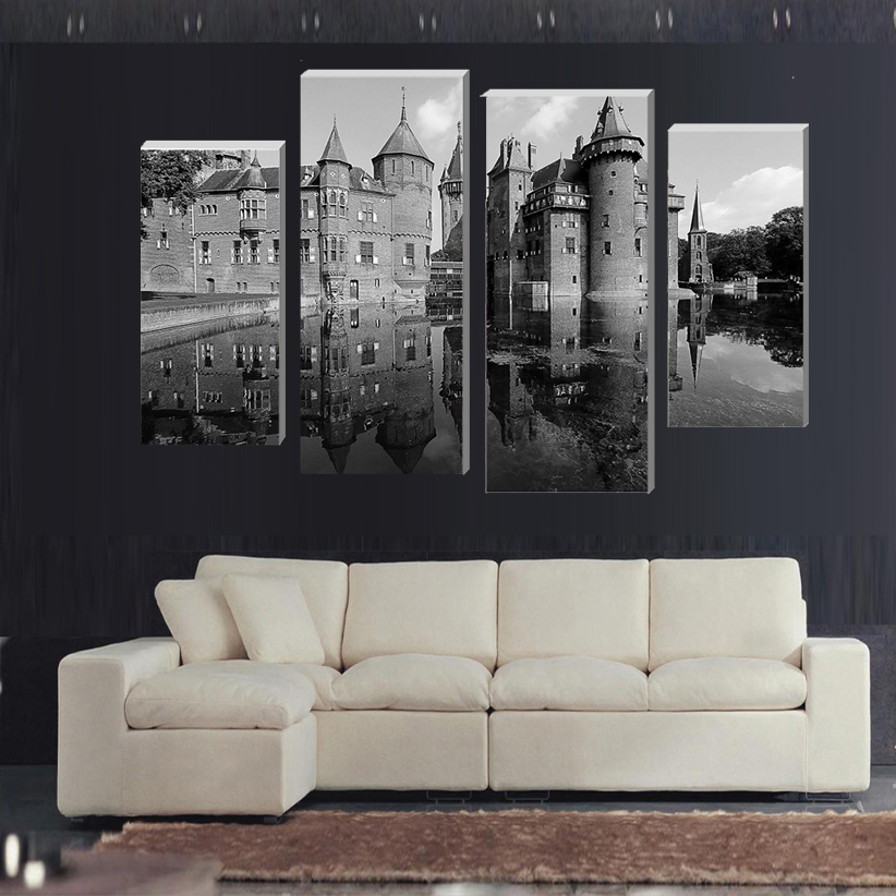 4 Panels Canvas Old Architecture Painting On Canvas Wall Art Picture Home Decor FOU174(China (Mainland))
