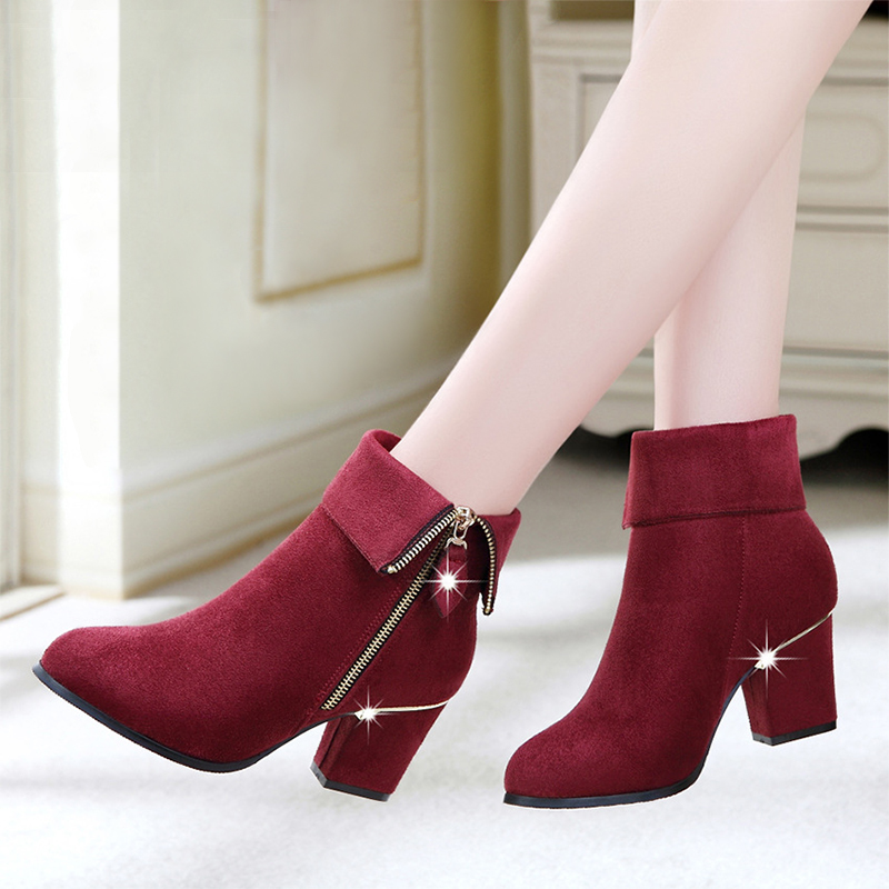 Innovative Boots Autumn Winter Boots Women Shoes Flock Wedges High Heels Ankle
