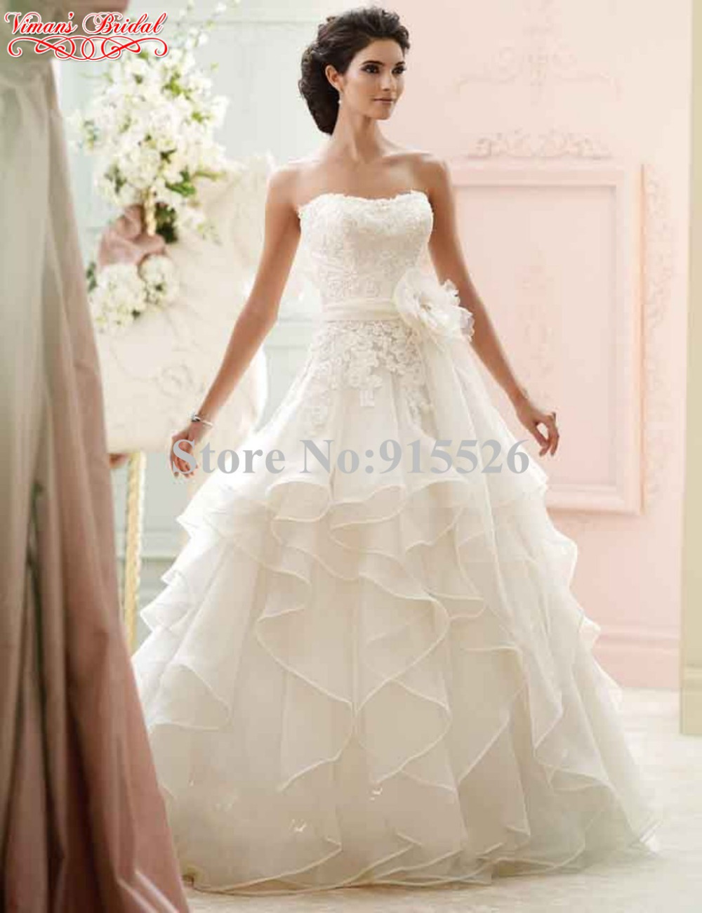 Ball gown wedding dresses lace flower sweetheart ruffles for Lace flower wedding dress