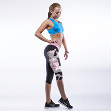 Europe and the United States are super elastic exercise seven pants personality digital printing  Leggings