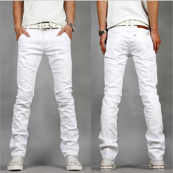2014 Korean fashion Washed Slim white trousers mens jeans brands big size 28-40 - China's best clothing store