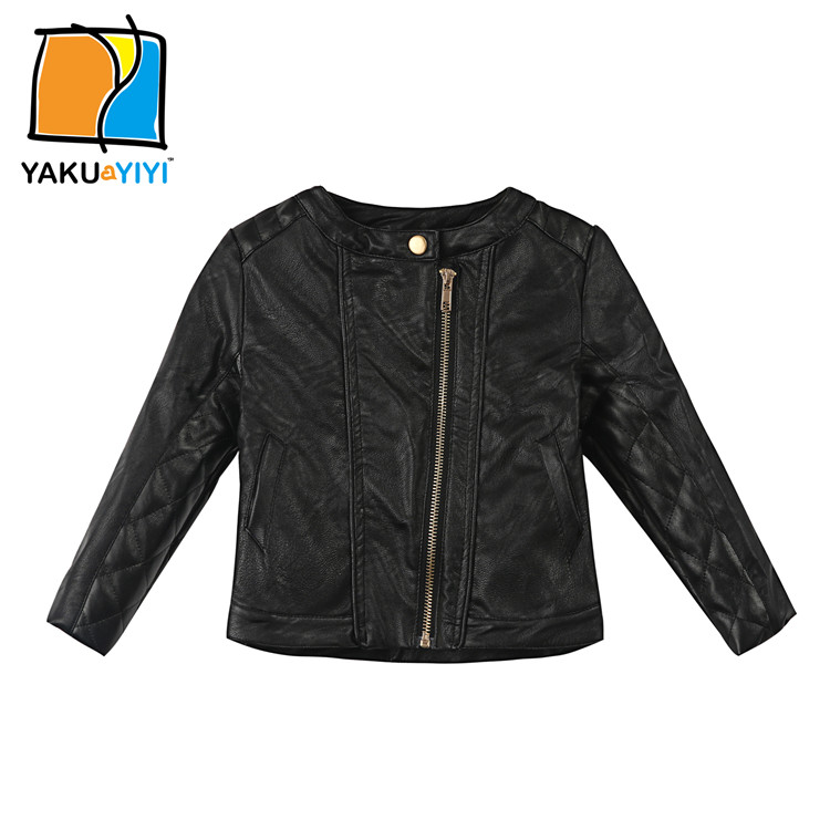 Kids Outwear 2015 Autumn Winter Girls Coats And Jackets Black PU Leather Jacket Casual Solid Children Outerwear Christmas Gift(China (Mainland))