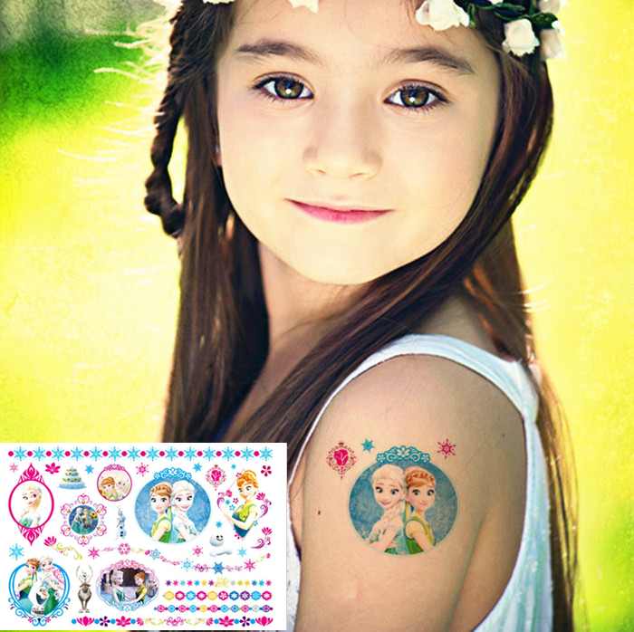 Гаджет  Princess Elsa Anna Child Flash Tattoo Sticker 17*10cm Waterproof Tatto Henna Summer Style Tatoo Temporary Body Art FREE SHIPPING None Красота и здоровье