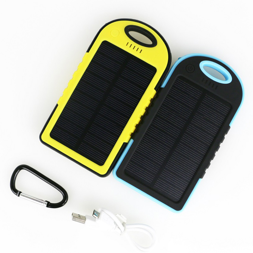 Solar Power Bank 5000MAH Waterproof Solar Charger Portable Powerbank With LED Lighting External Battery for iPhone HTC Cellphone(China (Mainland))
