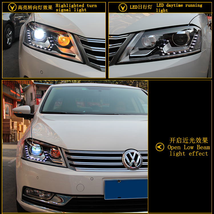 Car Styling Head Lamp for VW Passat B7 led headlights Volks Wagen Passat B7 Headlight LED drl H7 hid Bi-Xenon Lens low beam