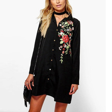 Buy Trendy Black Floral Embroidery Long Shirt Turn-down Collar New Casual Women Slim Single-breasted Long Sleeve Blouse Office Tops for $15.79 in AliExpress store
