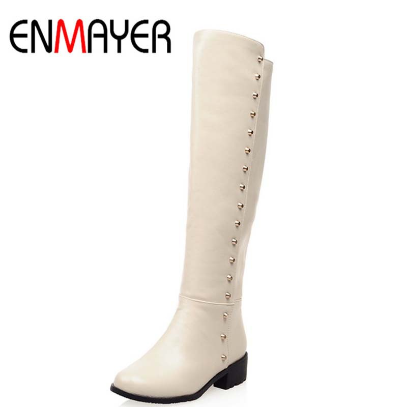 ENMAYER New Women Boots Winter Female Fashion Low High Heels Knee High Quality Fur Motorcycle Boots Shoes for Women Martin Boots<br><br>Aliexpress