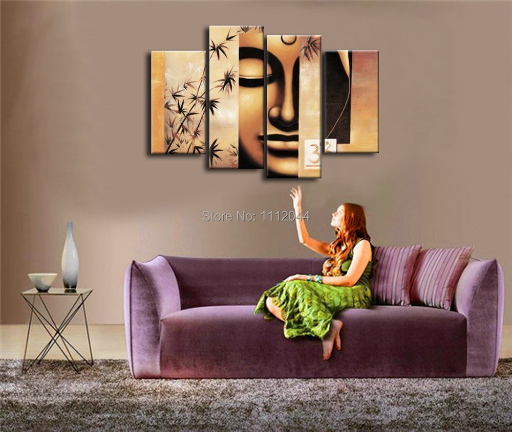 buddha paintings for living room high quality bamboo face oil painting