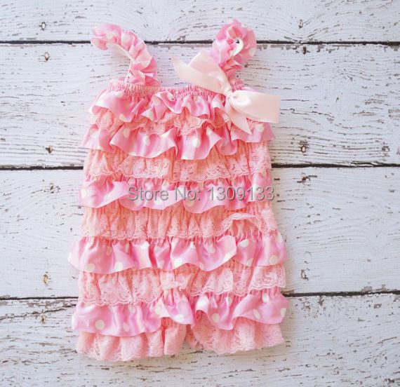 Light Pink Polka Dot Petti Romper, Lace Baby Romper Photography Prop Birthday Outfit,Ruffle Romper Baby Girls(China (Mainland))