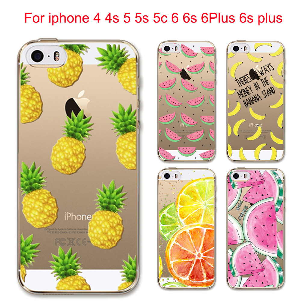 Fruit Pineapple Lemon Banana Fashion Soft Silicon Transparent Thin Case Cover For Apple iPhone 4 4S