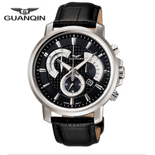 Origianl GUANQIN Waterproof Sport 3ATM Quartz Watches Men Top Brand Luxury Stop Watch Leather Men Relogios