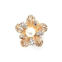 Baru Elegan Wanita Bros Poppy Bunga Bentuk Korsase Pin dengan Simulasi Mutiara Fashion Zircon Crystal Bros untuk Wanita(China)