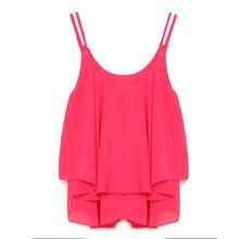 Hot Sale Zanzea 2016 Fashion New Women Summer Shirt Crop Tops Sexy Strap Flounced Tiered Chiffon Sleeveless Tank S-4XL 4 Color(China (Mainland))