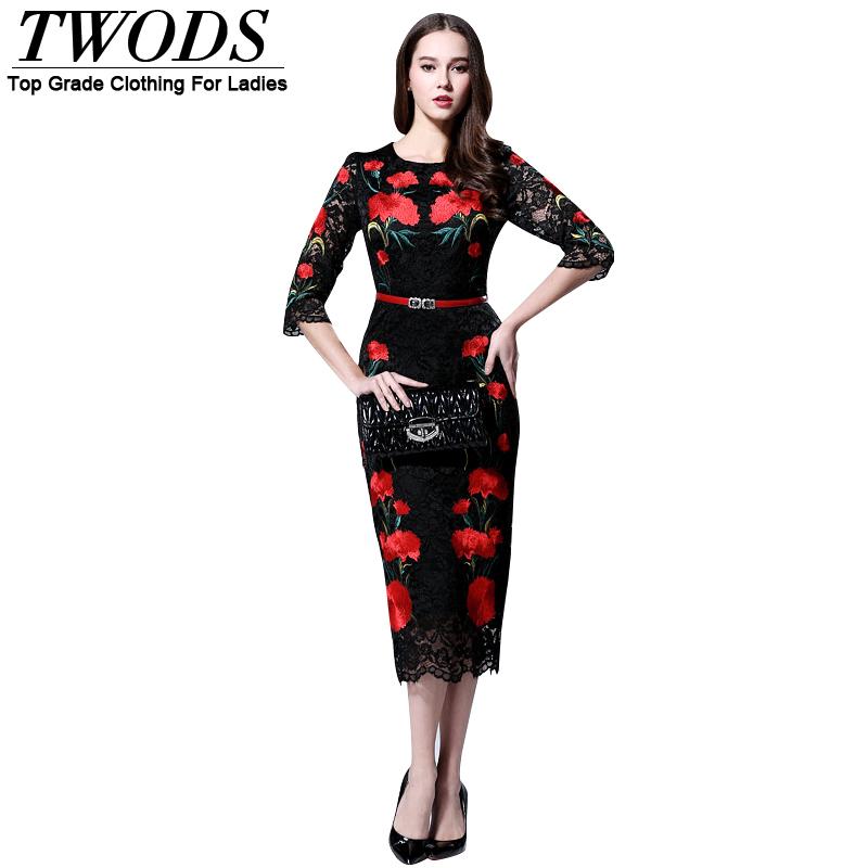 Twods 2015 new fashion design slim pencil women summer dress floral embroidery lace long vintage dresses