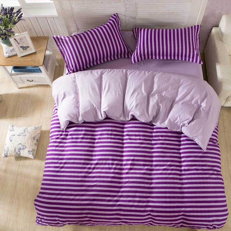 High Quality Cotton Bedding Sets New 2016 Brief Style Stripe Bedding Sets Grid Pattern Best Quality Home Bedding(China (Mainland))