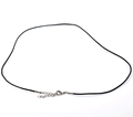 Men Women Hot Fashion Jewelry Cowhide Leather Necklace Black With Lobster Clasp Extender Chain 48 0cm