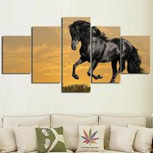5PCS Cool Running Black Horse Wall Painting Realist Animal Canvas Painting Home Wall Decor Art Print livingroom Hotel Workshop(China (Mainland))