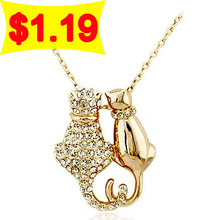 Free Shipping Gift Bag Wholesale Hotselling Rhine stone Alloy Zircon Crystal Couple Cats Pendant Necklace Sweater chain 2595