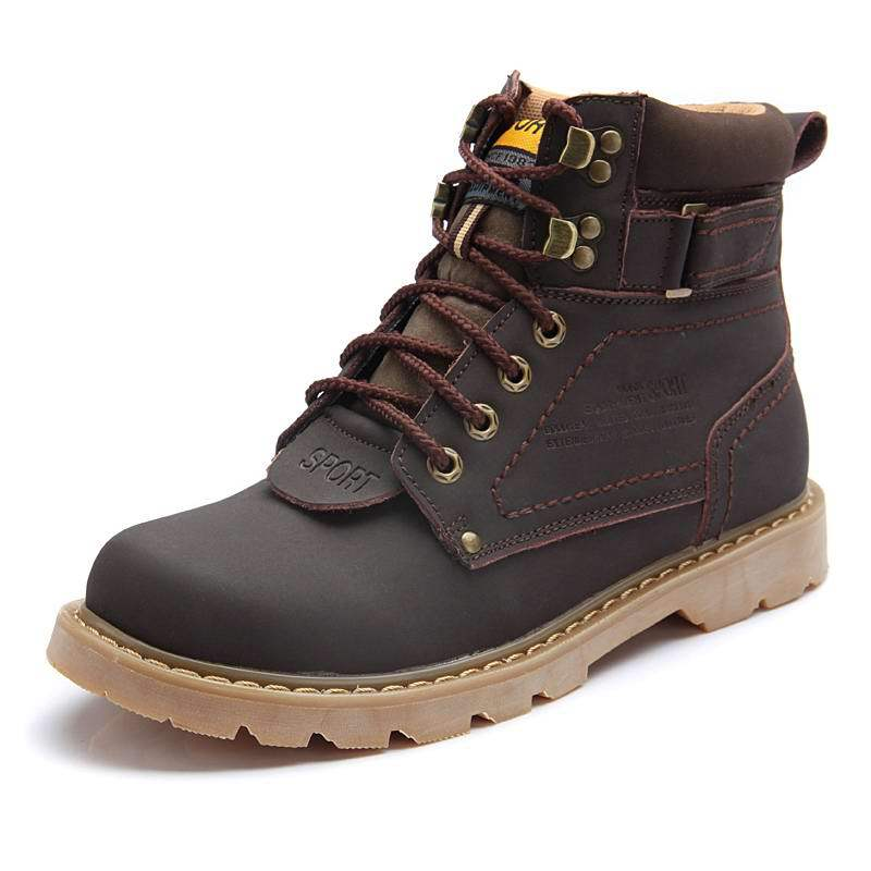 2014 men winter snow boots top quality genuine leather snow boots outdoor martin boots cow leather shoes hiking shoes size 38~44(China (Mainland))