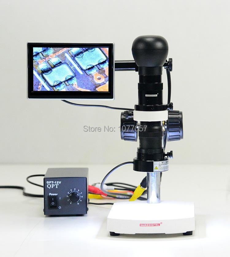 Best Sale,30X-100X HD Industry Mono LCD AV Zoom video Microscope lens + Stand +AV camera + LED ringlight + 5 '' LCD screen(China (Mainland))