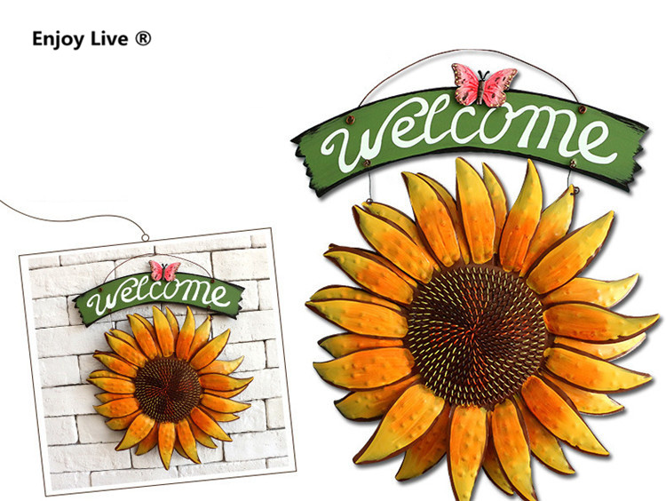Creative Vintage Iron Metal Crafts Painting Butterfly Sunflower Flower Welcome Sign Door Hanging For Home Pub Club Wall Decor(China (Mainland))
