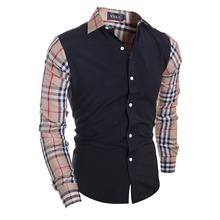 Men Plaid Shirts 2016 New Spring Luxury Slim Long Sleeve Brand Striped Patchwork Formal Business Fashion Black Dress Shirt Homme(China (Mainland))