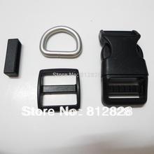 25 Sets 1'' 25mm #1 BLACK Dog Pet Collar Hardware Curved Side Release Buckle Set DIY(China (Mainland))